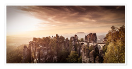 Póster View to the bridge of the Basle in Saxon Switzerland