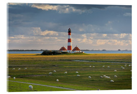 Cuadro de metacrilato  Lighthouse Westerhever, cumulus clouds, salt meadow, watts, sheep - Rainer Mirau