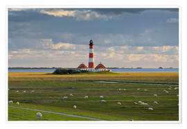 Póster  Lighthouse Westerhever, cumulus clouds, salt meadow, watts, sheep - Rainer Mirau