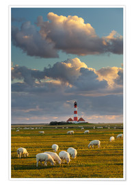 Póster  Lighthouse Westerhever, Cumulus clouds - Rainer Mirau