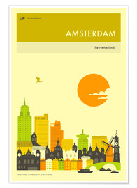 Póster  AMSTERDAM TRAVEL POSTER - Jazzberry Blue