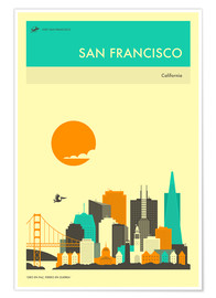 Póster  SAN FRANCISCO TRAVEL POSTER - Jazzberry Blue