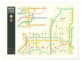 Póster NEW YORK STATE HIGHWAY MAP