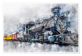 Póster  Steam locomotive Durango and Silverton Narrow Gauge Railroad - Colorado - USA - Peter Roder