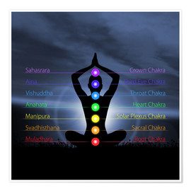 Póster  Chakras with silhouette