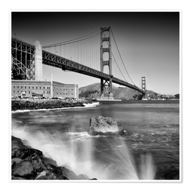 Póster  Golden Gate Bridge with breakers - Melanie Viola