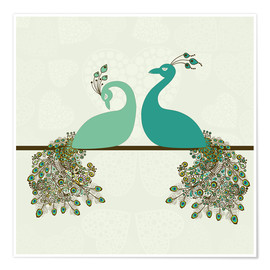 Póster  two peacocks