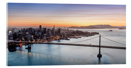 Cuadro de metacrilato  Aerial view of San Francisco at sunset, USA - Matteo Colombo