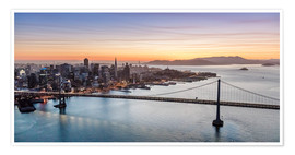 Póster  Aerial view of San Francisco at sunset, USA - Matteo Colombo