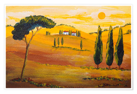 Póster  Sunshine in Tuscany in the Morning - Christine Huwer