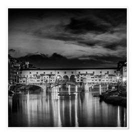 Póster FLORENCE Ponte Vecchio at Sunset