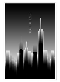 Póster Graphic Art SKYHIGH Lights black and white