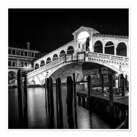 Póster  VENICE Rialto Bridge at Night - Melanie Viola