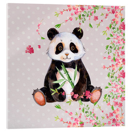 Cuadro de metacrilato  Little panda bear with bamboo and cherry blossoms - UtArt