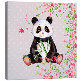 Lienzo  Little panda bear with bamboo and cherry blossoms - UtArt