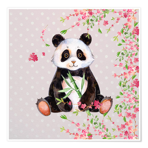 Póster Little panda bear with bamboo and cherry blossoms