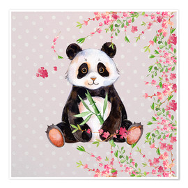 Póster  Little panda bear with bamboo and cherry blossoms - UtArt
