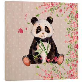 Cuadro de madera  Little panda bear with bamboo and cherry blossoms - UtArt