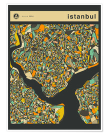 Póster  ISTANBUL MAP - Jazzberry Blue