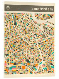 Cuadro de metacrilato  AMSTERDAM MAP - Jazzberry Blue