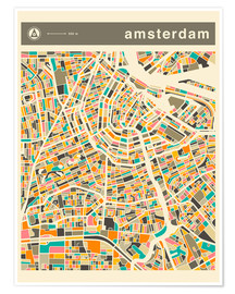 Póster  AMSTERDAM MAP - Jazzberry Blue