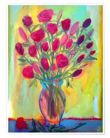 Póster Roses in glass vase