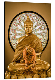 Cuadro de aluminio  Buddha statue and Wheel of life background