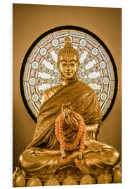 Cuadro de PVC  Buddha statue and Wheel of life background