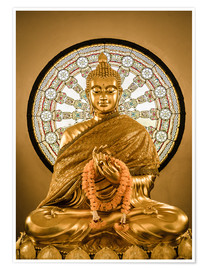 Póster  Buddha statue and Wheel of life background
