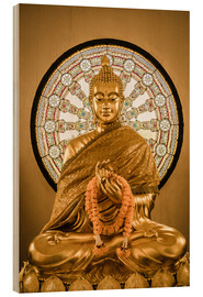 Cuadro de madera  Buddha statue and Wheel of life background