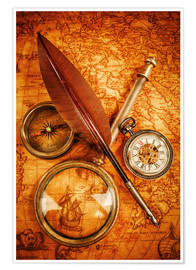 Póster  Compass and Clock