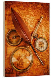 Cuadro de madera  Compass and Clock