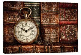 Lienzo  Clock in front of books