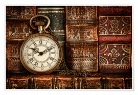 Póster  Clock in front of books
