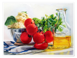 Póster tomatoes and olive oil