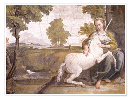 Póster Young woman with a white unicorn in her arms