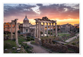 Póster  Dramatic sunrise at the Roman Forum in Rome, Italy - Jan Christopher Becke