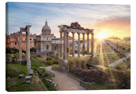 Lienzo  Sunset at the Roman Forum in Rome, Italy - Jan Christopher Becke