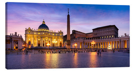 Lienzo  St. Peter's Square and St. Peter's Basilica at night, Rome, Italy - Jan Christopher Becke