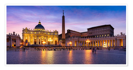 Póster St. Peter's Square and St. Peter's Basilica at night, Rome, Italy