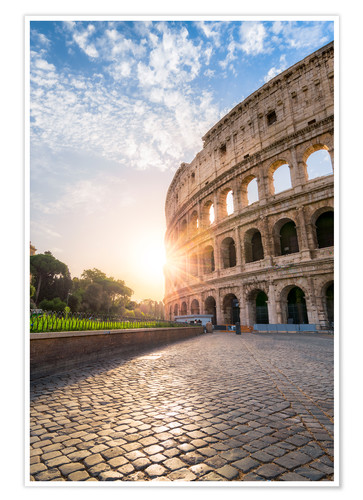 Póster The Colosseum in Rome at sunrise