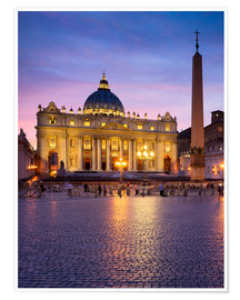 Póster St. Peter's and St. Peter's Square in Rome, Italy