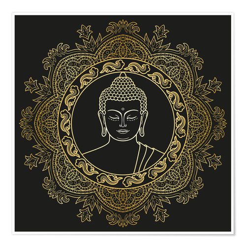 Póster Buddha in golden mandala