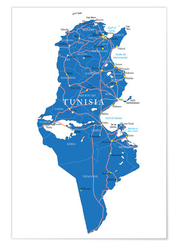 Póster Map Tunisia