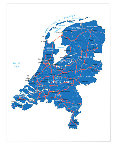 Póster Map Netherlands