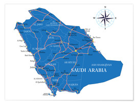 Póster Map Saudi Arabia