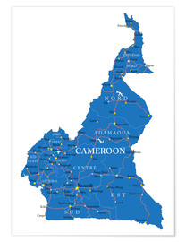 Póster Map Cameroon