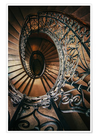 Póster Spiral staircase with ornamented handrail