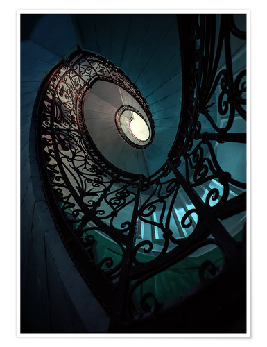 Póster Spiral staircase in blue and beige colors