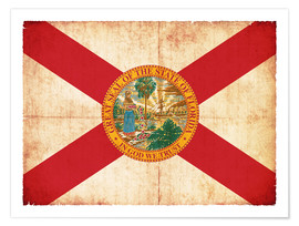 Póster  Vintage Flag of Florida in grunge style - Christian Müringer